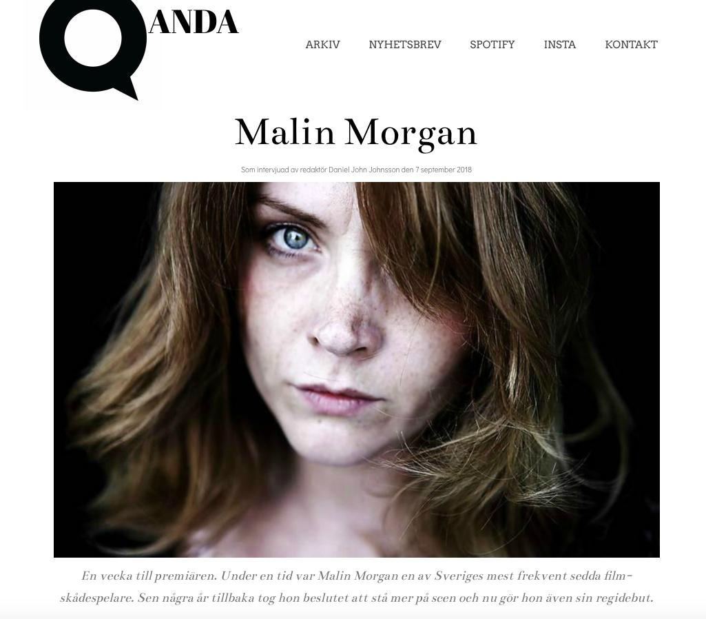 Skärmavbild på Qandas intervju med Malin Morgan inför Teater Barbara Kom igen, Caritha!