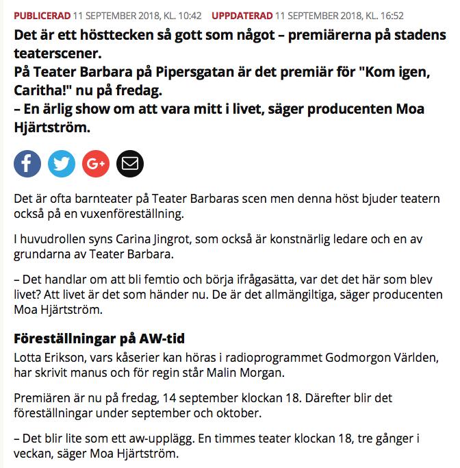 Skärmavbild på artikeln från Mitt i Kungsholmen om Teater Barbara och premiären av Kom igen, Caritha!